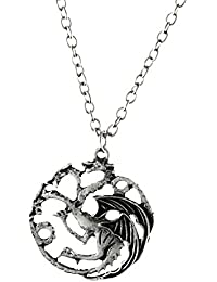 ExBozo Silver The Game Of Thrones Targaryen Three Headed Dragon Necklace Song Of Ice And Fire