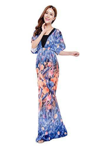 YiJee Donna Manica Corta V Collo Abiti Lungo Vintage Floreale Vestito Taglia Larga Blu