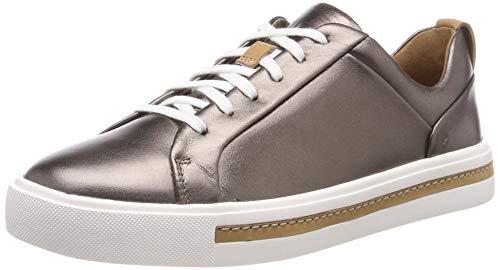 Clarks Damen Un Maui Lace Sneaker, Silber (Pebble Metalic), 37.5 EU -