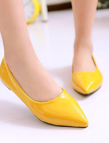 Azul Vermelho Femininos Uk4 Amarelo Ssig black amarelo Outddor Eu36 Zq Sapatos Baixo Bicudos Leatherette Gr¨¹n Bailarinas Salto Calçados B¨¹ro Us6 Cn36 L q5R5xwYT4O
