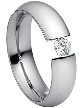 Heideman Damen-Ring intensio poliert Swarovski zirconia weiß 4 mm Ringe mit Stein Zirkonia Diamant Edelstahl Verschiedene...