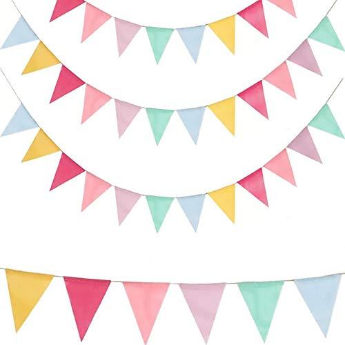 LEBENSWERT 4 Stück Wimpelkette Wimpel Girlande Bunting Banner 16.8m Imitation Leinen Dreieck Dekoration für Geburtstag Party Hochzeit(12 Fahnen/Jede Wimpelkette)