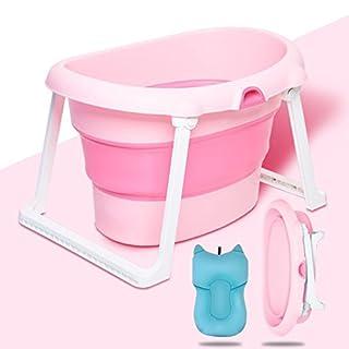 XXCCL Folding Bathtub Infant Child Bath Barrel Swimming Pool/Bucket Insulation Removable Portable Non-Slip Wear-Resistant Add Bth Mat,Pink