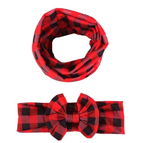 Babybekleidung Schals Longra Herbst Winter Baby Mädchen Mode karierten Schal Baby Bow Haarschmuck Stirnband Schal Set (Red)