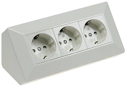 3-fach Steckdosenblock weiß 230V Aufbaumontage 45° für Arbeitsplatte Küche, Werkstatt