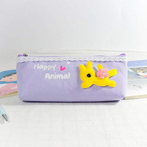 Federmäppchen grau violett Schnecke Schaf Tier Stickerei Federmäppchen Concise Bleistiftbeutel Baumwollbeutel Beutel Box Briefpapier für Schüler Schulmaterial -