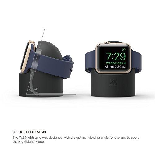 elago W2 Ständer Kompatibel mit Apple Watch Serie 5 (2019) / Serie 4 / Series 3 / Series 2 / Series 1 / 44mm / 42mm / 40mm / 38mm - Nachtmodus, Kabelmanagement, Kratzfestes Silikon (Schwarz)