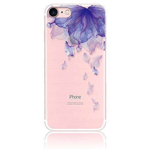 �r iPhone 8, Hülle für iPhone 7, Silikon Dünn Case Transparent Weich Cover Ultra Slim TPU Schlank Bumper Handyhülle Soft für iPhone 8 iPhone 7 4.7 Zoll - Lila Blume ()