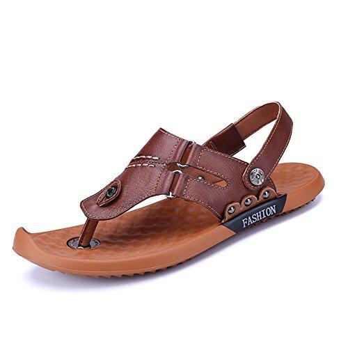 Shaoeo Estate Style Uomo Sandali Da Spiaggia Ciabatte Tendenze Casual Pantofole Piedini Antiscivolo A Doppio Uso Dark Brown