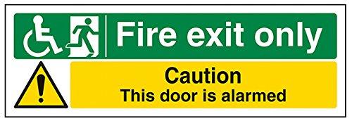vsafety 14036ax-s Fire Exit Schild, Rad Stuhl Fire Exit//NUR Tür beunruhigt, selbstklebend, Landschaft, 300mm x 100mm, schwarz/grün/gelb