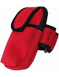La & Esto brazalete deportivo de neopreno/brazo funda para teléfono móvil, unisex (Rojo)