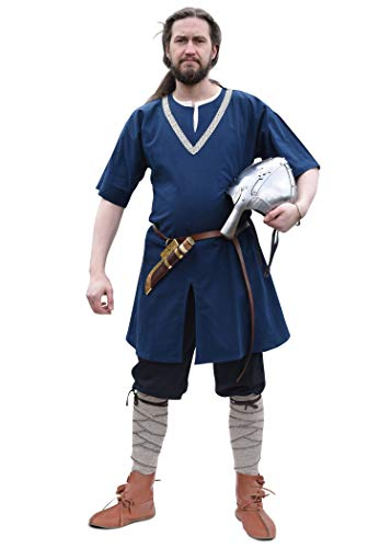 Der Mit Blau Farbe Kostüm - Battle-Merchant Mittelalter Tunika mit Bordüre, Kurzarm versch Farben - Wikinger LARP Herren Männer (Blau, S)