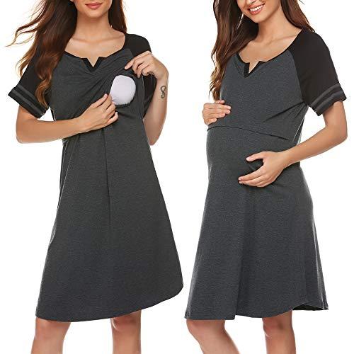 ADOME Damen Pflege/Geburt/Krankenhaus Baumwolle Nachthemd für Schwangere Umstandsnachthemd V-Ausschnitt Streifen Kurzarm Patchwork Stillnachthemd