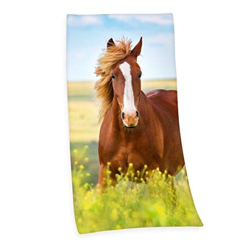 Herding Velourstuch Pferd, Baumwolle, Bunt, 150 x 75 cm