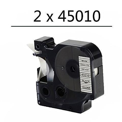 Oyat® 12mm x 7m Schriftband Etikettenband kompatibel für Dymo D1 45010 S0720500 schwarz auf transparent für DYMO LabelPoint& LabelManager (2xschwarz auf transparent)