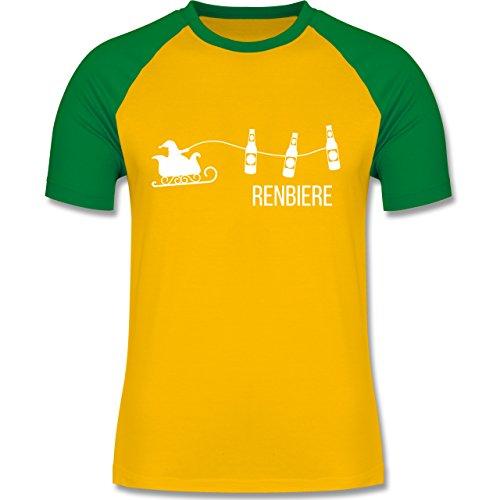 Shirtracer Typisch Männer - Renbiere - Herren Baseball Shirt Gelb/Grün