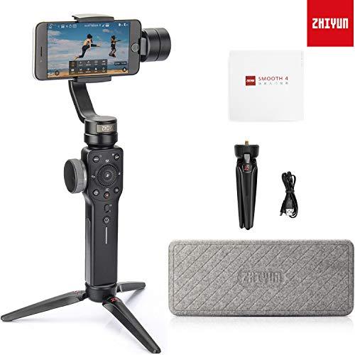 Zhiyun Smooth 4 3-Achsen Handheld Gimbal Stabilisator mit Stativ für Smartphone wie iPhone X 8 Plus 8 7 Plus 7 6S Samsung S9 Plus S9 S8 S7 Huawei P20 Pro Mate 10 und Andere Handys