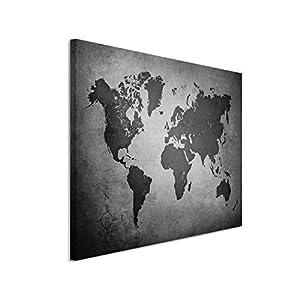 50x70cm Leinwandbild Schwarz Weiß In Topqualität Alte Weltkarte