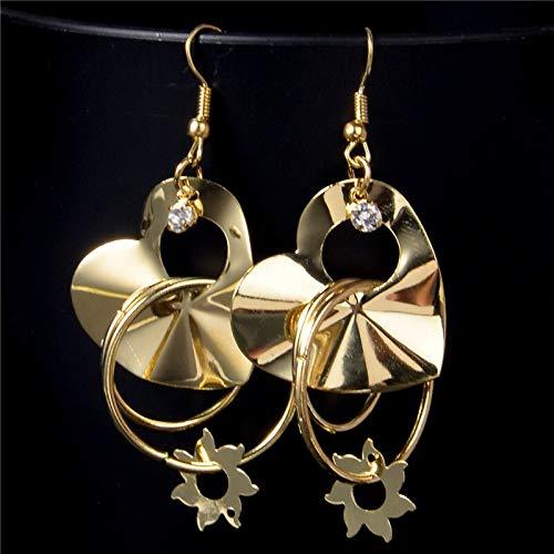 Goldene Sonne Blume Ohrringe Ornament herzförmige Ornamente weiblich Anhänger Ohrringe weiblich
