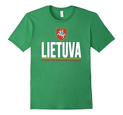 Men's LIETUVA T-shirt Lithuanian Flag Tee Lithuania Pride Soccer Medium Grass