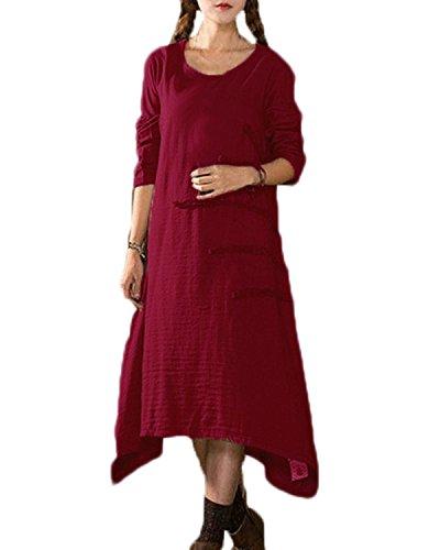 ZANZEA Vintage Automne Longue Tunique Cocktaill Femme Maxi Robe Lâche Casual Soiree Bal Dress Linge Vin rouge