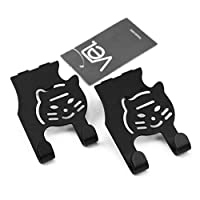 Vel. Premium Set of 2 Stainless Steel Over The Cabinet Door, Drawer & Cupboard Hooks for Kitchen Towels with Soft Protective Pads - Ergonomic Design - Cat Shaped