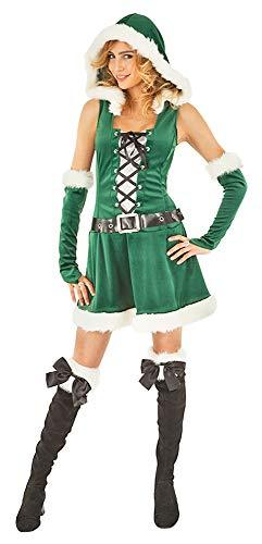 Das Kostümland Miss Santa Weihnachtselfe Kostüm für Damen Kurz - Grün - Gr. ()