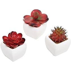 MyGift Lot de 3plantes artificielles W/pots de fleurs en céramique, Rouge