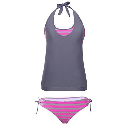 mode - niedrige split badehosen bikinis streifen die grau - rote