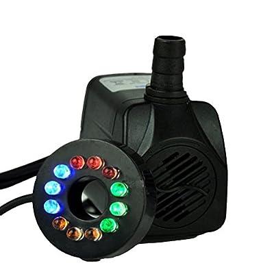 OUNONA Pompe à Eau Submersible Puissante 16W avec 12 Lampes LED Réglable pour Fontaines Étangs Aquarium 220-240V