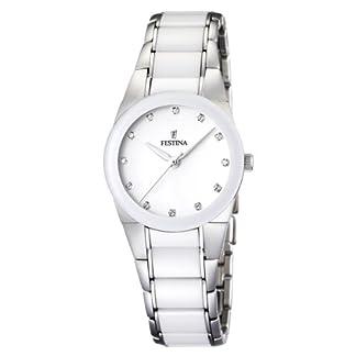 Festina F16534/3 – Reloj analógico de pulsera para mujer (mecanismo de cuarzo, esfera blanca y correa de acero inoxidable multicolor)