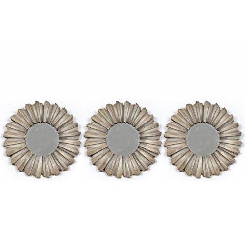 Set-of-3-Bronze-Round-Mirrors-25cm-Diameter-Hallway-Bedroom-Sunburst-Design-by-The-Home-Fusion