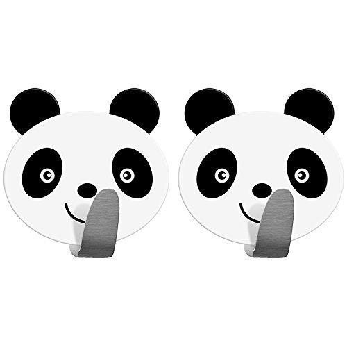 Tatkraft Panda| Handtuchhaken Selbstklebend, Handtuchhalter Panda | 2er Pack, Aus Edelstahl | Schnell Montiert | Humorvolles Design Für Jedes Alter