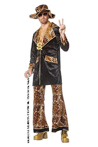 Gauner Kostüm - shoperama Pimp King Herren-Kostüm Lude Zuhälter Stenz Gauner Bad Taste Assi Proll Anzug, Größe:52