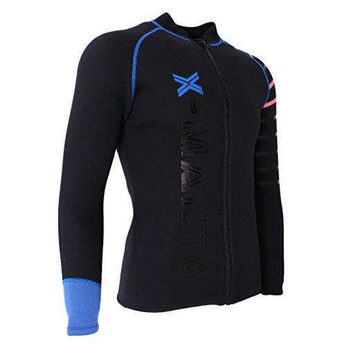 IPOTCH Herren Damen 3mm Neoprenanzug Jacke UV Schutz Wetsuit Badeanzug Badebekleidung Wassersport Anzug Oberteile - Schwarz, 3XL