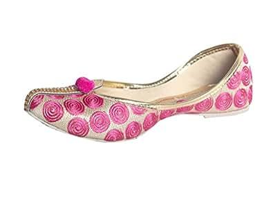 Panahi Golden Pink Partywear Ethnic Mojaris for Women
