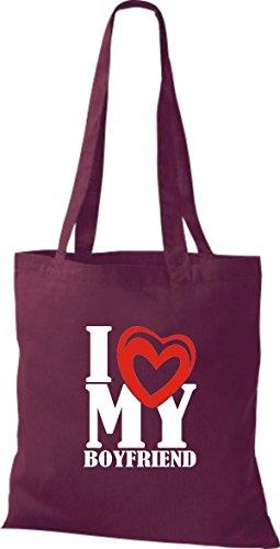 ShirtInStyle Shopper Valentinstag I Love My Boyfriend weinrot