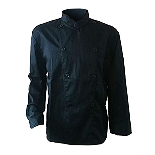 Erwachsene Männer Jungen Baumwolle Arbeitsanzug Arbeitsoveralls Kitchen Koch Kochen Ober Kellner Kellnerin Arbeit Kleidung Anzug Uniform langärmelig schwarz S
