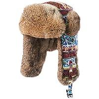 Zxcvb Sombrero de Pelo de Invierno Dulce para Mujer Orejeras Lindas Gorro Lei Feng Viento Nacional Cálido Gorro de algodón Noreste Gorra a Prueba de Viento (Color : Marrón, tamaño : One Size)