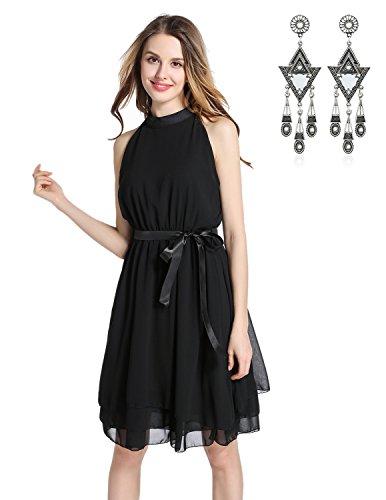 Semia donna chiffon vestiti a pieghe halterneck senza maniche estivi elegante abito da festa cerimonia-nero, size xxl