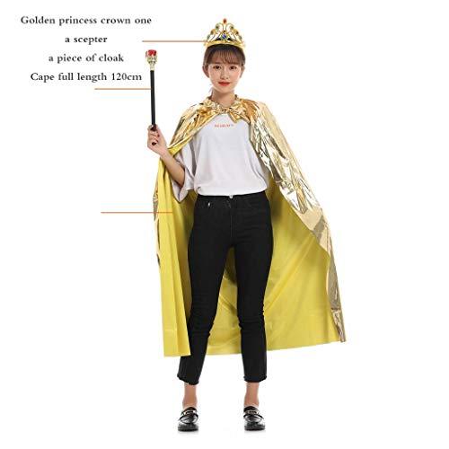 GXDJQWSJ Halloweenkostüm, Halloween Adult King Kostüm Prinzessin Dress Up Umhang Zepter Krone Kind Red Cape Umhang (Color : - Cape Red Kind Kostüm