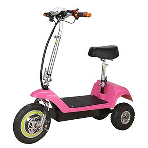 SZPDD Faltbares elektrisches Fahrrad-3-Rad E-Bike (vorne 12 Zoll, hinten 10 Zoll) 10A Lithium-Batterie Mini Portable Fast Folding,pink