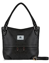 YOLANDO Womens Vintage Style Faux Leather Hobo Tote Buckets Bag Shoulder Handbag With Zippered Pockets