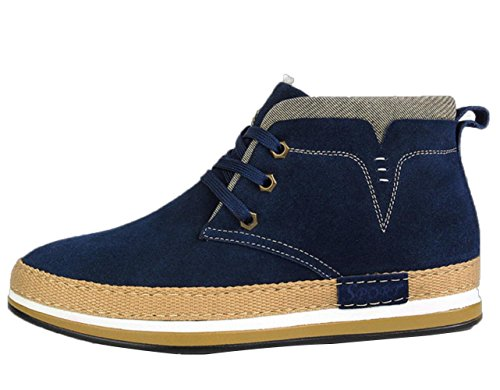WZG cuir d'hiver haut-dessus chaussures dans les chaussures plus casual hommes britanniques suede hommes chauds peau de vache de velours Blue