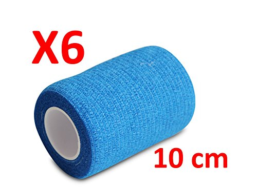 Übung Wraps (Keine Mehr Arme Haftung.–Blau kohäsive Bandage gedehnt 6Rollen x 10cm x 4,5m selbstklebend flexibel, professionelle Qualität, erste Hilfe Sport Wrap Verbände, 6Stück)
