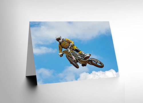 NEW MOTOCROSS DIRT BIKE JUMP SPORT PHOTO BIRTHDAY BLANK GREETINGS CARD CL1116
