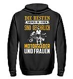 Motorrad Shirt · Biker · Geschenk für Superbike Fahrer · Spruch: Motorräder und Frauen - Unisex Kapuzenpullover Hoodie -L-Jet Schwarz