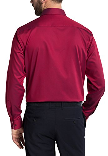 Eterna Long Sleeve Shirt Comfort Fit Fancy Weave Structured Rosso