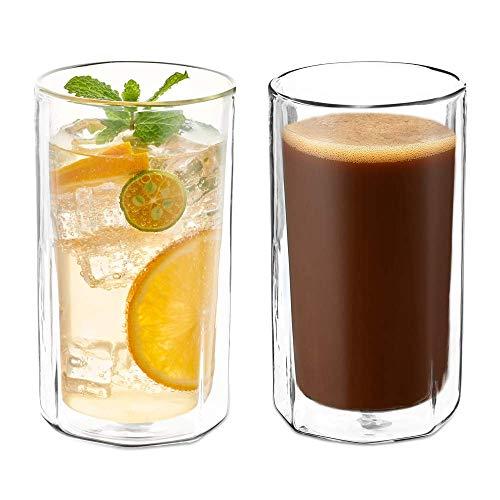 Becher Set Doppelwand Glas Tassen groß Borosilikat Cocktailgläser 2er Set Kaffeetassen Gläser für Tee Latte 14OZ/410ML farblos ()