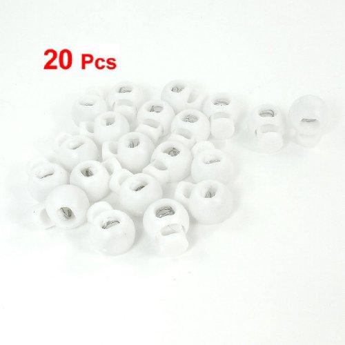 Gleader 20 x Bouton a ressort Bouton reglable Bouton a cordon en plastique blanc